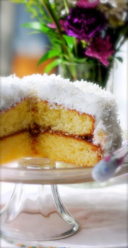 coconut jam cake